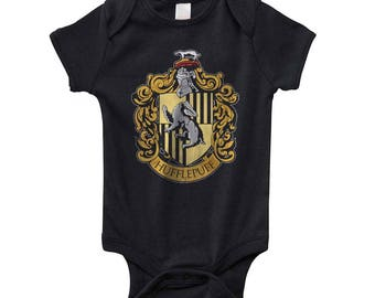 Huffle #1 Crest on Infant Baby Rib Lap Shoulder Creeper Onesie