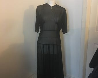 Lovely vintage drop waist black net dress with white button neckline