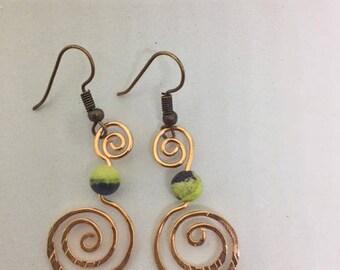 Gemstone Earrings - Copper Spiral Earrings - Yellow Turquoise Gemstone - Hypo allergenic Earrings