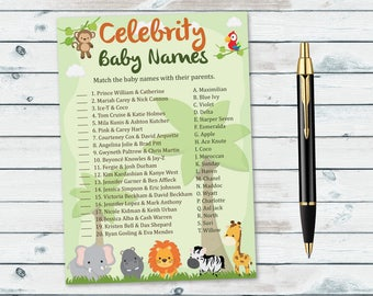 Celebrity Baby Names Safari Shower, Celebrity Match Game, Baby Shower Celeb, Baby Celebrity Quiz, Celebrity Babies Game, Safari Shower Game