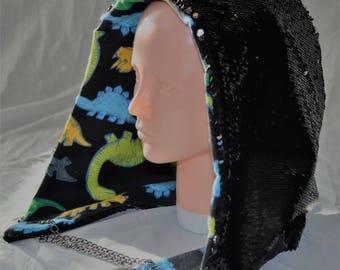 Silver and Black Reversible Sequin Festival Hood | Rave hood| Spirit Hood | Burning Man hood | Shambhala Hood with Dinosaur Lining