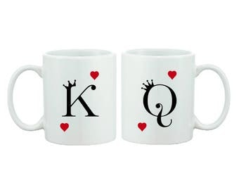King and Queen, Letters and Hearts - Couple Mug Gift Set - Wedding - Anniversary - FREE UK SHIPPING