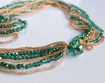 Long necklace, beaded necklace, chanel necklace, crystals necklace,green necklace, sober necklace, gift for mom, girl gift, made in italy