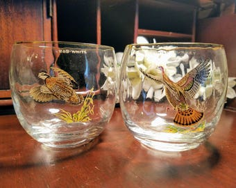 Ned Smith Roly Poly Glasses ~ Set of 2 ~ Mid-Century Modern ~ Bob White and Wild Turkey ~ Signed