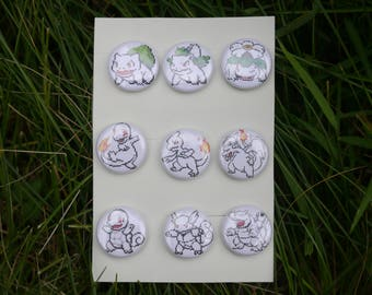 "Albino Pokemon Gen one Starters sprite collection - 9 button set - 1"" video game pixel art badges pins enamel pinbacks"