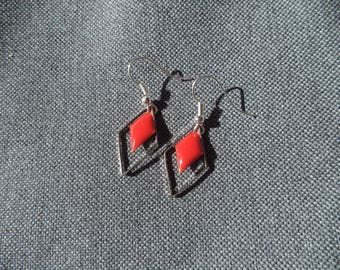 Enamelled sequin vermilion red diamond and diamond silver ring earrings