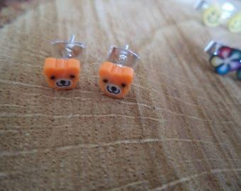 Earrings Silver earrings with polymer clay bear.