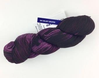 Malabrigo Sock Yarn Velvet Grapes 204 Superwash Merino Wool Hand Painted Merino Fingering Weight Yarn Purple Wool Sock Yarn 440 Yards 3.5 oz