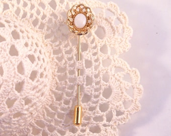 Vintage Gold Tone Opal Stick Pin or Brooch Nice Lapel Pin Gift For Her