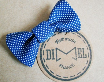 hair bow girl woman blue mini polka dots