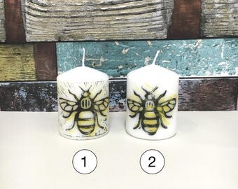 Manchester Bee Candles, Bee Pillar Candles, Lino Print Candles