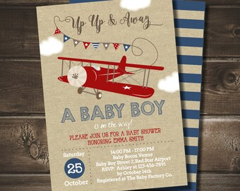 Airplane Baby Shower Invitation for a Boy, INSTANT DOWNLOAD, Up Up and Away Invite, Editable with Adobe Reader, Printable DIY pdf, Digital