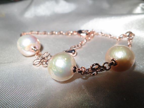 Lovely new handmade genuine cultured Kasumi freshwater  golden rainbow pearl bracelet
