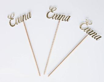 """6 mini skewers """"initials"""" paper glitter gold birthday"""