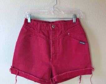 Vintage Red Rockie High Waist Jean Shorts MD