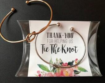 Silver, Gold or Rose Gold Love knot bracelet, tie the knot bangle, bridesmaid knot bracelet, gold love knot bangle, rose gold bracelet