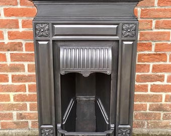 Original Late 19th Century (1896) Antique Victorian All In One Cast Iron Fireplace