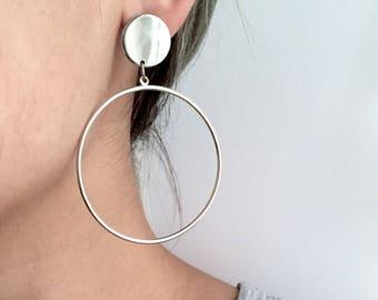 Disc circle/square earrings, minimal earrings