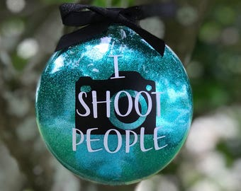 I Shoot People Ornament, Photographer Ornament, Photography Gift, Photographer Gift, Camera Ornament, Personalized Glitter Ornament