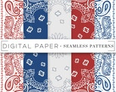 Bandana Print Seamless Patterns Digital Scrapbook Paper Classic Red White Blue Grey Hand Drawn Repeatable Textile Surface Art Background
