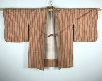 D700 Vintage 80s Japanese Haori Kimono Womens Cotton Cardigan Jacket