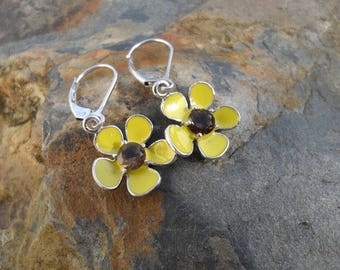 Yellow Enamelled Flower Earings With Smoky Quartz Gemstones