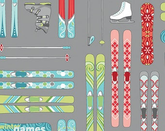Winter Games SKIS by Amanda Murphy for Contempo - 1/2 yard