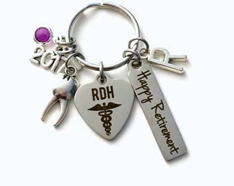 Retirement Gift for RDH Keychain, 2017 Registered Dental Hygienist Keyring, Dentist Retire Key Chain, Present him her women Men Assistant