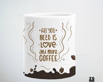 Taza con diseño All you need is love and more coffee, regalo Navidad, regalo para ella, regalo para él, regalo para jefe, amigo invisible