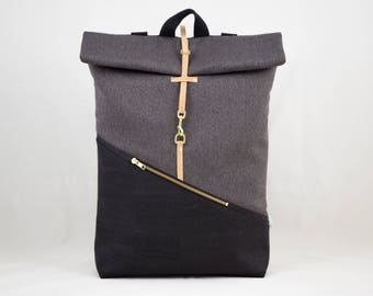 Cork Rolltop backpack with laptop compartment black canvas dark grey