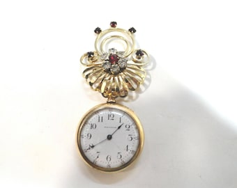 1903 Lady Pocket Watch Gold Filled with  Hanging Lapel Pin Size 2/0 33mm