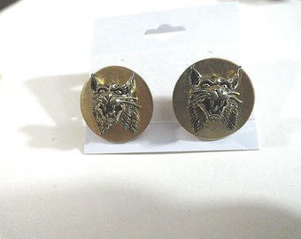 Vintage Anson Cuff Links Angry Wolf Heads  3/4 Inch Gold Tone
