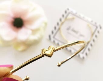 Gold Heart Bracelet - Bridesmaids Gifts - Bridal Party Gifts - Maid of Honor - Wedding Favors
