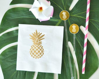 Metallic Gold Pineapple Napkins, Destination Wedding Napkiins, Beach Wedding, Bridal Shower Napkins (set of 25)