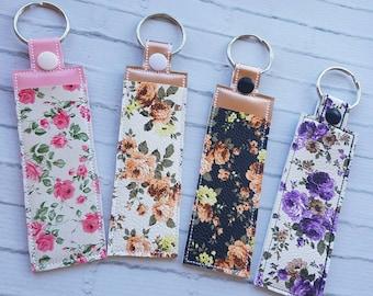Floral Lip Gloss Holder Keychain