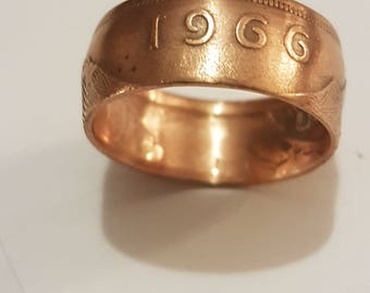 Coin Ring Irish Penny 1966 Size T 1/2