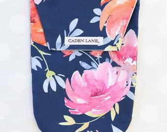 Midnight Navy Floral | Watercolor Floral Diaper and Wipe Holder | Watercolor Floral Baby Shower Gift