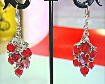 Red earrings, beaded earrings, silver earrings, cluster earrings, red cluster earrings, red glass earrings