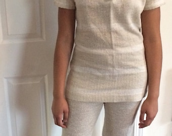1970s two piece beige top with wide leg pants