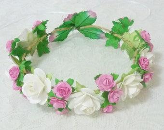 White pink rose headpiece /Flower crown/ Rose headpiece/ Big Rose hair wreaths
