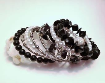 Wrap Bracelet - Boho Bracelet - Cuff Bracelet - White and Black Bracelet - Beaded Bracelet - Gift for Her - Jewelry - Bracelet