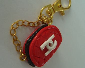 Keychain purse with polymer clay and its chain metal gold