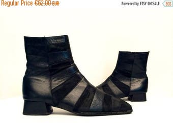 20%OFF Vtg 90s Avant Garde Suede Leather Black Square Low Heel Minimalist Ankle Boots