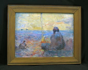 American-Painting-Impressionist-OB-Native American-Seated by Fire-L 19th e. 20th c.-Signed Listed Clarence E. Shepard (1869-1949) Orig Frame