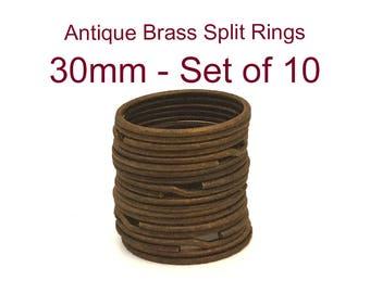 Antique Brass Split Key Rings TEN 30mm   / Antique Brass Keyrings / Antique Brass Key Rings / Antique Brass Keychains