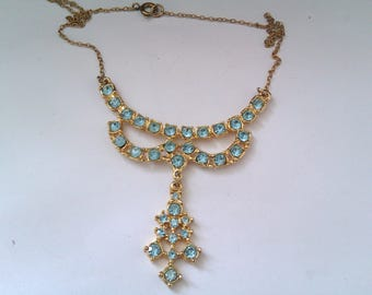vintage light blue stone pendant necklace