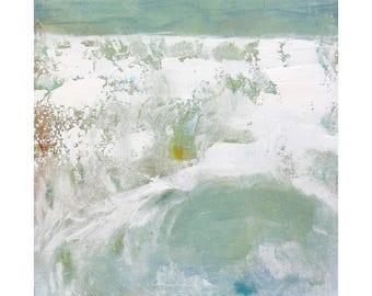 contemporary Beach Decor Original Abstract Oil Painting 12 x 12 square art Dallas artist Paul Ashby