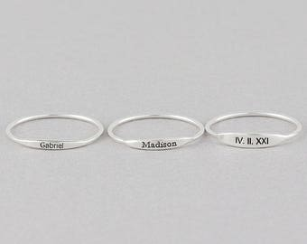 Stackable Personalized Name Rings, Custom Name Ring, Name Bar Ring, Stacking Ring (HCR OF 15.3)