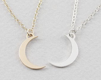 Crescent Moon Necklace in gold filled, silver, and rosegold fill, Minimal Crescent Moon Necklace,  ( CMN 20 )