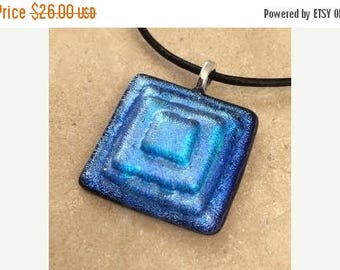 35% OFF Layered Dichroic Necklace, Blue Dichroic, Glass Jewelry, Fused Glass Jewelry, Dichroic Pendant, Dichroic Glass Jewelry - HEA063